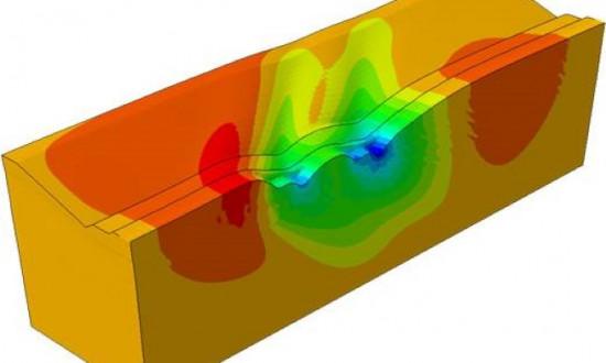 Beräknade deformationer från en finita element-modell av en järnvägsbank förstärkt med 6 m långa kalkcementpelare i skivor utsatta för laster motsvarande ett tåglokomotiv med farten 415 km/h